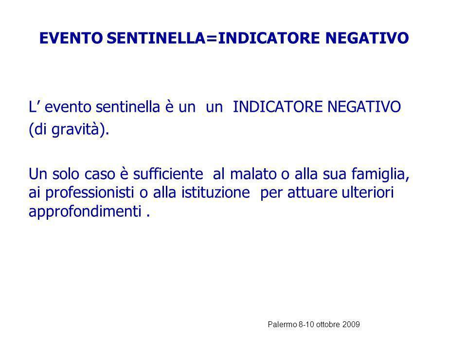 Palermo 8-10 ottobre 2009 INDICATORE SENTINELLA EVENTO SENTINELLA E un indicatore a soglia zero in quanto anche il verificarsi di un solo caso deve da