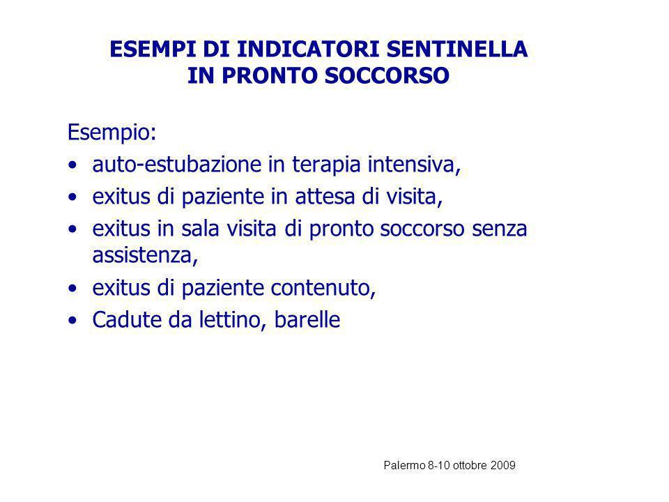 Palermo 8-10 ottobre 2009 EVENTO SENTINELLA=INDICATORE NEGATIVO L evento sentinella è un un INDICATORE NEGATIVO (di gravità). Un solo caso è sufficien