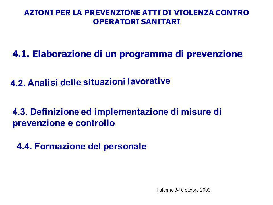 Palermo 8-10 ottobre 2009 RACCOMANDAZIONE PER PREVENIRE GLI ATTI DI VIOLENZA A DANNO DEGLI OPERATORI SANITARI Gli atti di violenza a danno degli opera