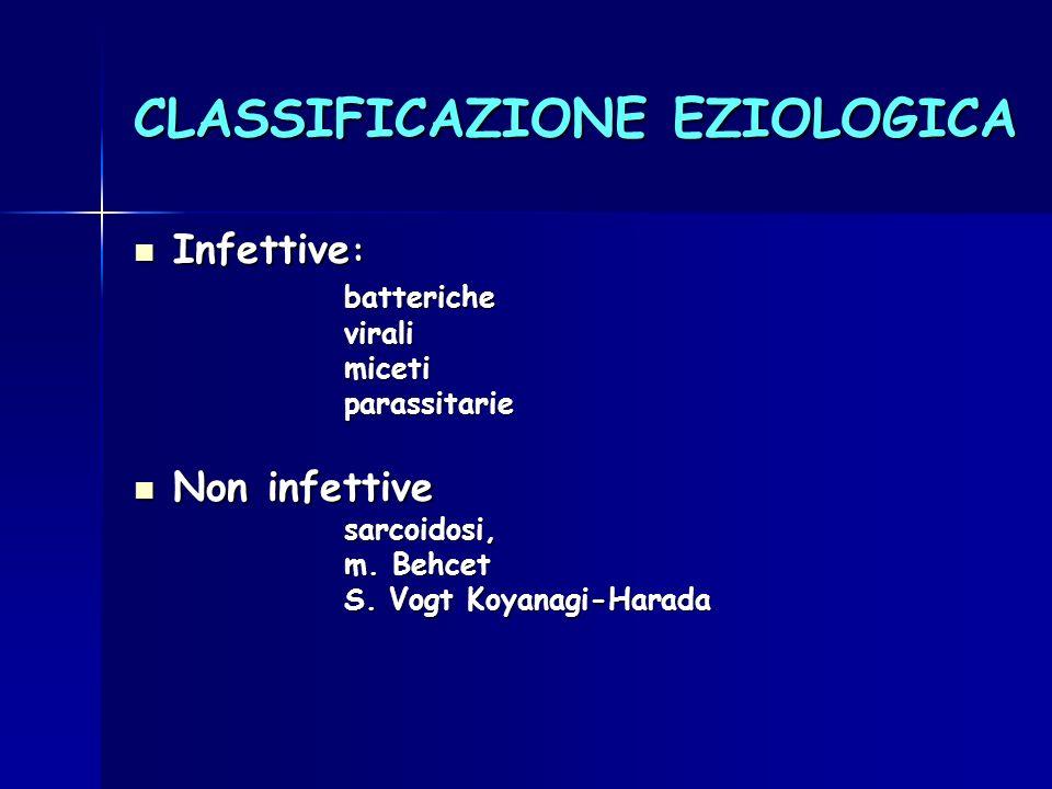 CLASSIFICAZIONE EZIOLOGICA Infettive : Infettive :battericheviralimicetiparassitarie Non infettive Non infettivesarcoidosi, m. Behcet S. Vogt Koyanagi