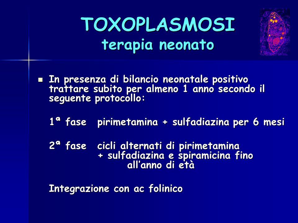 TOXOPLASMOSI terapia neonato In presenza di bilancio neonatale positivo trattare subito per almeno 1 anno secondo il seguente protocollo: In presenza