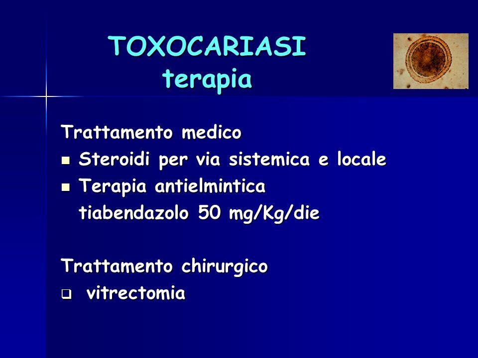 TOXOCARIASI terapia Trattamento medico Steroidi per via sistemica e locale Steroidi per via sistemica e locale Terapia antielmintica Terapia antielmin