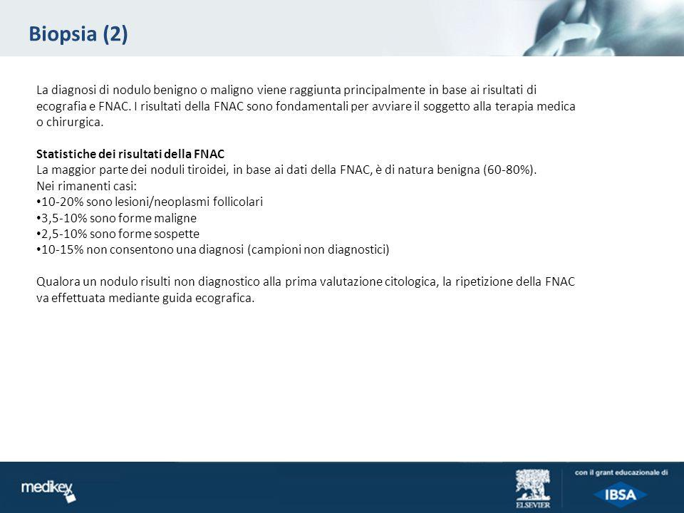 Biopsia (2) La diagnosi di nodulo benigno o maligno viene raggiunta principalmente in base ai risultati di ecografia e FNAC. I risultati della FNAC so