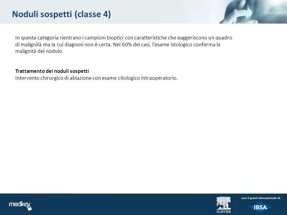 Noduli sospetti (classe 4) In questa categoria rientrano i campioni bioptici con caratteristiche che suggeriscono un quadro di malignità ma la cui dia