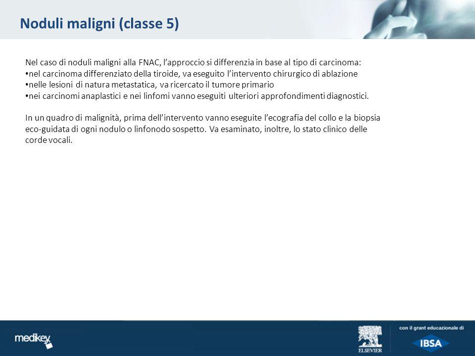 Noduli maligni (classe 5) Nel caso di noduli maligni alla FNAC, lapproccio si differenzia in base al tipo di carcinoma: nel carcinoma differenziato de