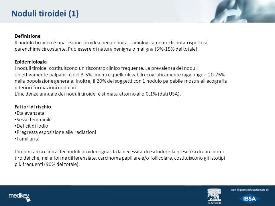 Noduli tiroidei (1) Definizione Il nodulo tiroideo è una lesione tiroidea ben definita, radiologicamente distinta rispetto al parenchima circostante.