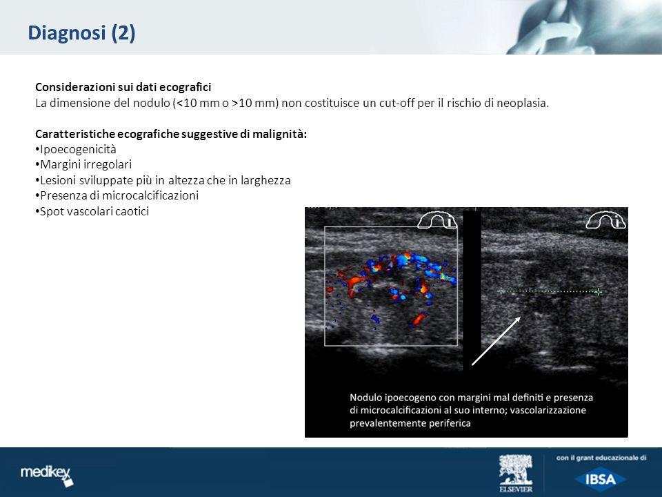 Diagnosi (2) Considerazioni sui dati ecografici La dimensione del nodulo ( 10 mm) non costituisce un cut-off per il rischio di neoplasia. Caratteristi