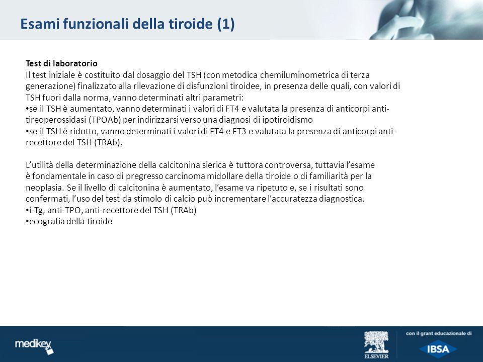 Esami funzionali della tiroide (1) Test di laboratorio Il test iniziale è costituito dal dosaggio del TSH (con metodica chemiluminometrica di terza ge
