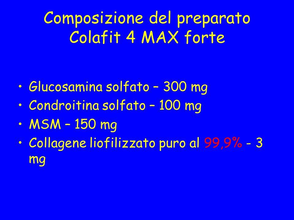Composizione del preparato Colafit 4 MAX forte Glucosamina solfato – 300 mg Condroitina solfato – 100 mg MSM – 150 mg Collagene liofilizzato puro al 9