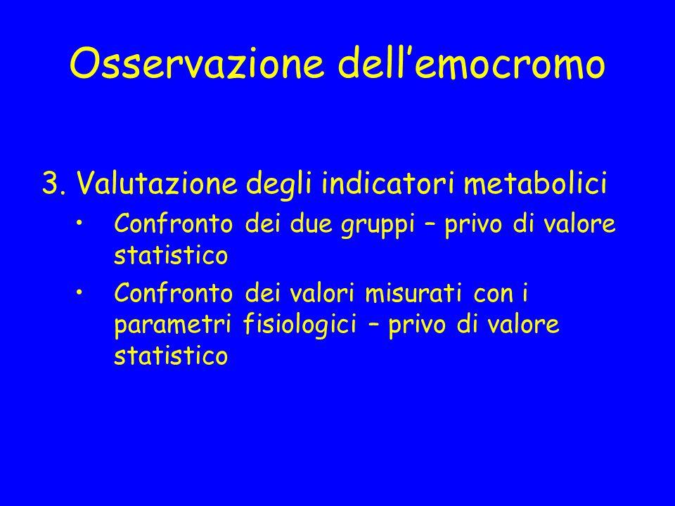 Osservazione dellemocromo 3. Valutazione degli indicatori metabolici Confronto dei due gruppi – privo di valore statistico Confronto dei valori misura
