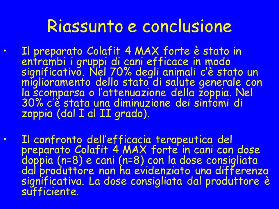 Riassunto e conclusione Il preparato Colafit 4 MAX forte è stato in entrambi i gruppi di cani efficace in modo significativo. Nel 70% degli animali cè