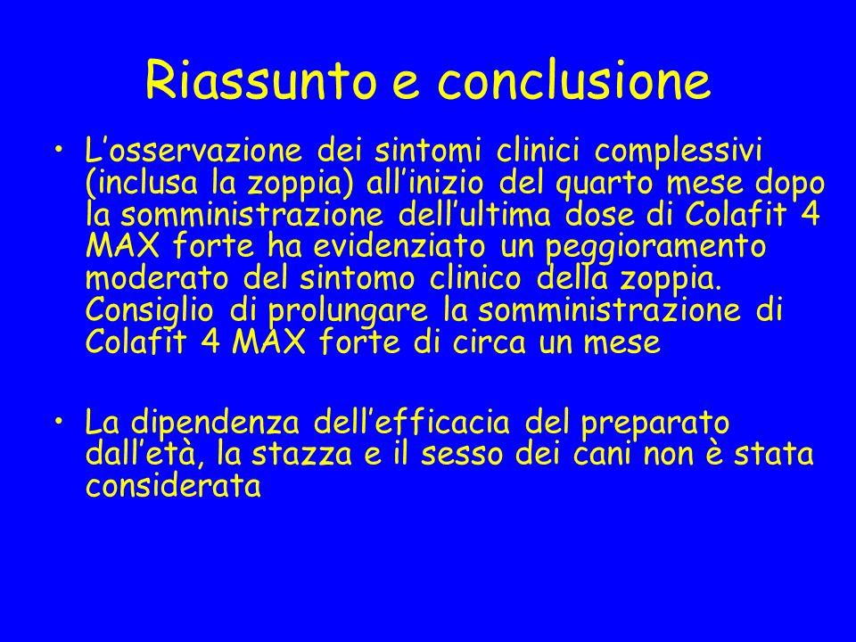 Riassunto e conclusione Losservazione dei sintomi clinici complessivi (inclusa la zoppia) allinizio del quarto mese dopo la somministrazione dellultim