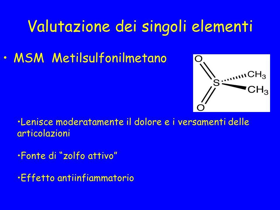Valutazione dei singoli elementi MSM Metilsulfonilmetano Lenisce moderatamente il dolore e i versamenti delle articolazioni Fonte di zolfo attivo Effe