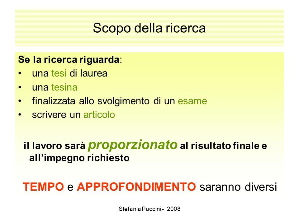 Stefania Puccini - 2008 Scopo della ricerca Se la ricerca riguarda: una tesi di laurea una tesina finalizzata allo svolgimento di un esame scrivere un