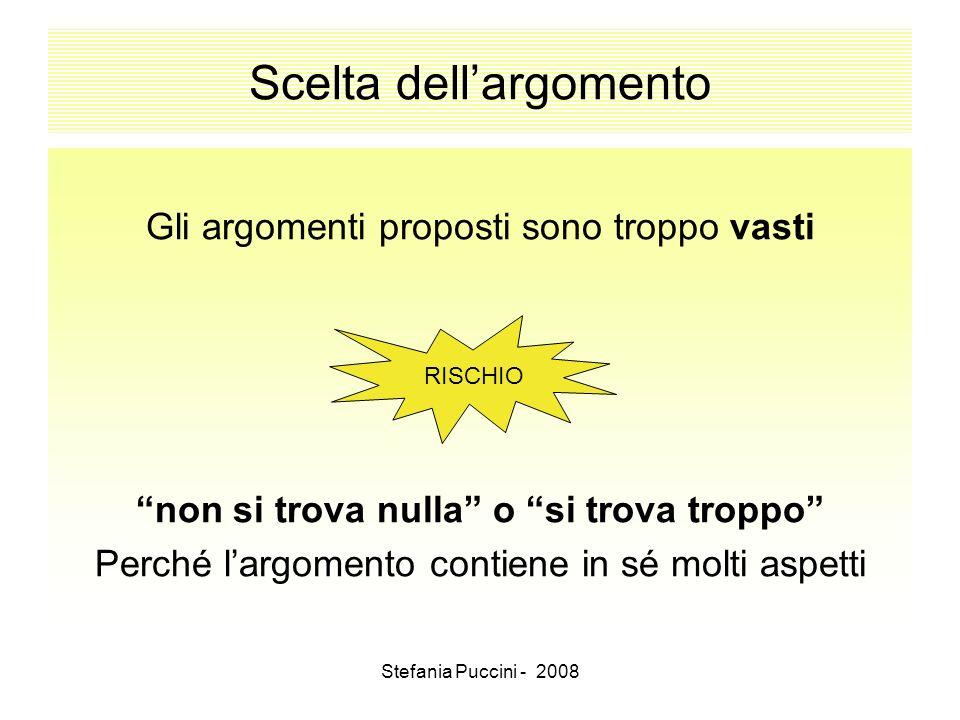 Stefania Puccini - 2008 Scelta dellargomento Gli argomenti proposti sono troppo vasti non si trova nulla o si trova troppo Perché largomento contiene