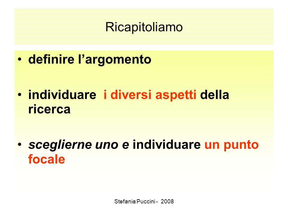 Stefania Puccini - 2008 Ricapitoliamo definire largomento individuare i diversi aspetti della ricerca sceglierne uno e individuare un punto focale