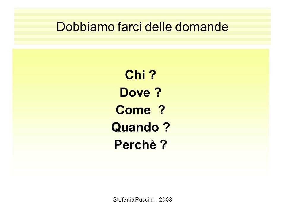 Stefania Puccini - 2008 Dobbiamo farci delle domande Chi ? Dove ? Come ? Quando ? Perchè ?