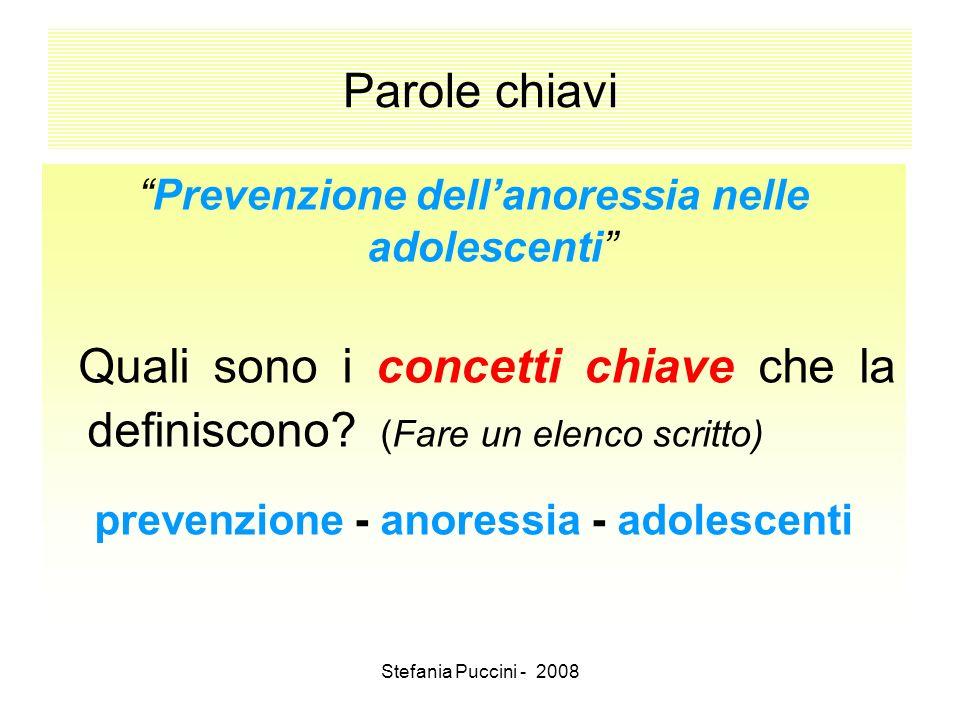 Stefania Puccini - 2008 Parole chiavi Prevenzione dellanoressia nelle adolescenti Quali sono i concetti chiave che la definiscono? (Fare un elenco scr