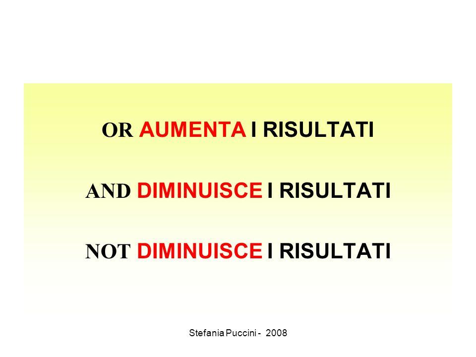 Stefania Puccini - 2008 OR AUMENTA I RISULTATI AND DIMINUISCE I RISULTATI NOT DIMINUISCE I RISULTATI