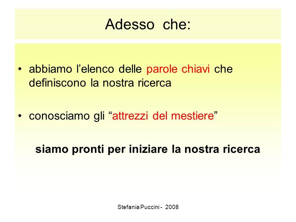 Stefania Puccini - 2008 Adesso che: abbiamo lelenco delle parole chiavi che definiscono la nostra ricerca conosciamo gli attrezzi del mestiere siamo p