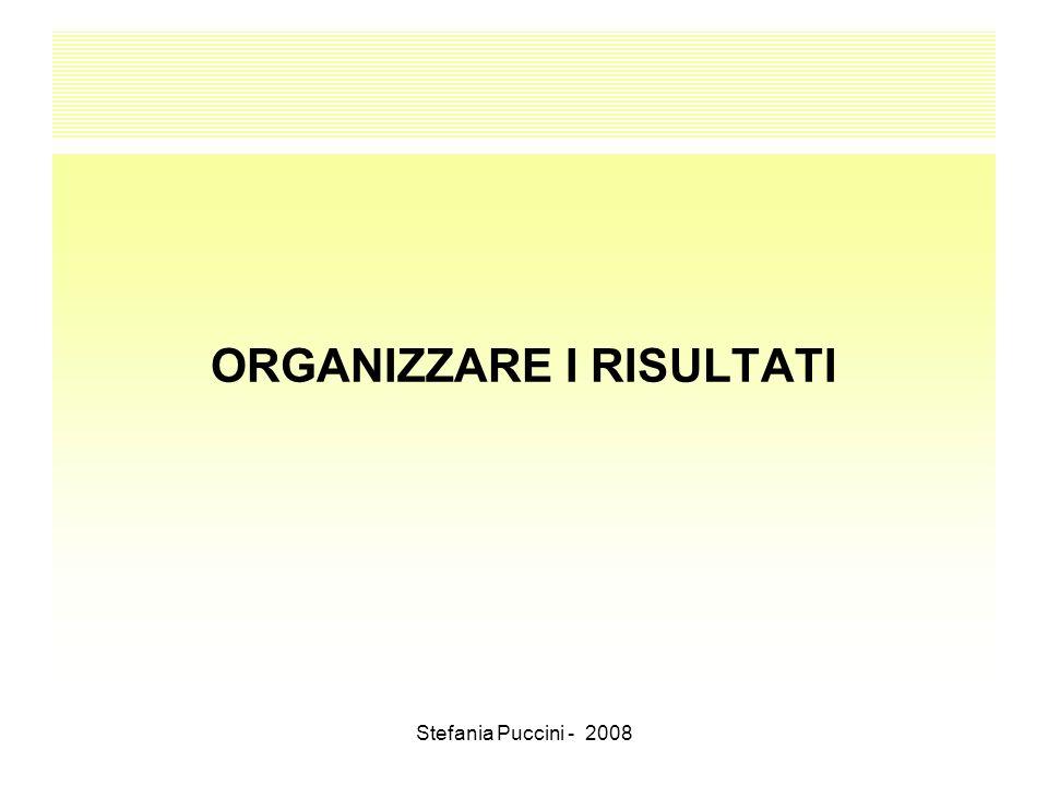 Stefania Puccini - 2008 ORGANIZZARE I RISULTATI