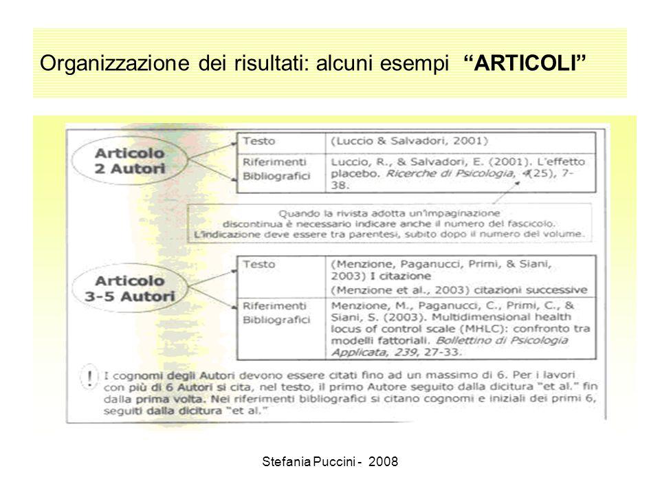 Stefania Puccini - 2008 Organizzazione dei risultati: alcuni esempi ARTICOLI