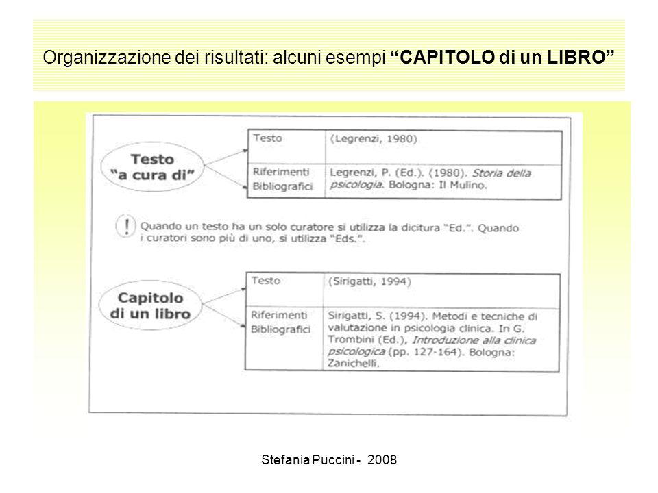 Stefania Puccini - 2008 Organizzazione dei risultati: alcuni esempi CAPITOLO di un LIBRO