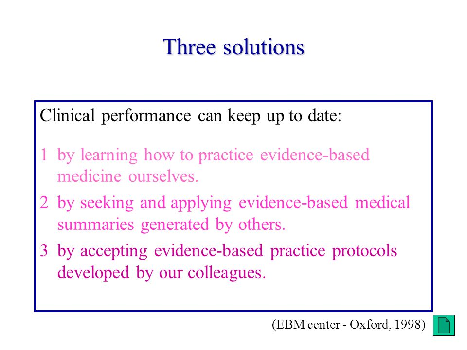 Three solutions Clinical performance can keep up to date: 1by learning how to practice evidence-based medicine ourselves.