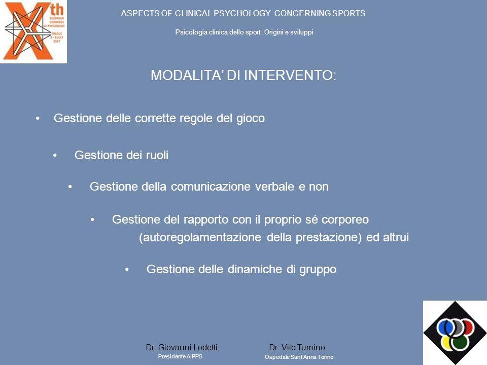 MODALITA DI INTERVENTO: Gestione delle corrette regole del gioco Gestione delle dinamiche di gruppo Gestione del rapporto con il proprio sé corporeo (
