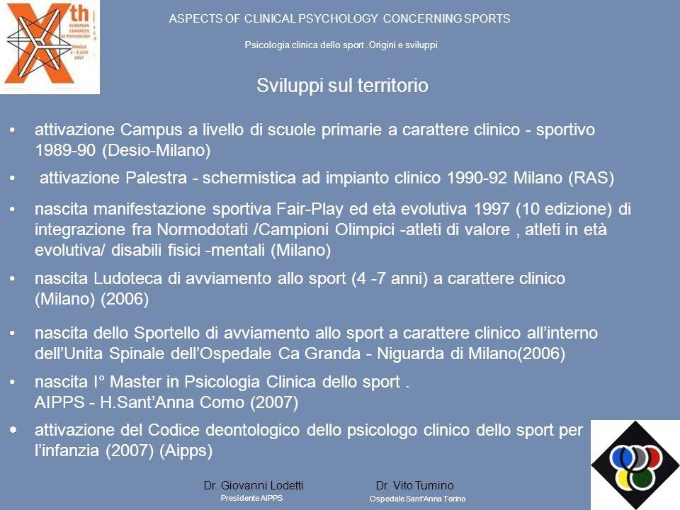 Sviluppi sul territorio attivazione Campus a livello di scuole primarie a carattere clinico - sportivo 1989-90 (Desio-Milano) attivazione Palestra - s