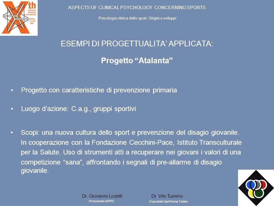 ESEMPI DI PROGETTUALITA APPLICATA: Progetto Atalanta Scopi: una nuova cultura dello sport e prevenzione del disagio giovanile. In cooperazione con la