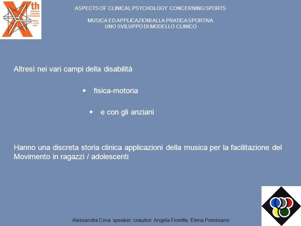 ASPECTS OF CLINICAL PSYCHOLOGY CONCERNING SPORTS MUSICA ED APPLICAZIONI ALLA PRATICA SPORTIVA. UNO SVILUPPO DI MODELLO CLINICO Altresì nei vari campi