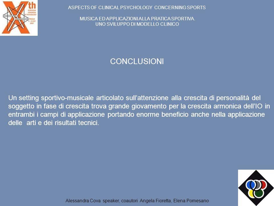 ASPECTS OF CLINICAL PSYCHOLOGY CONCERNING SPORTS MUSICA ED APPLICAZIONI ALLA PRATICA SPORTIVA. UNO SVILUPPO DI MODELLO CLINICO Un setting sportivo-mus