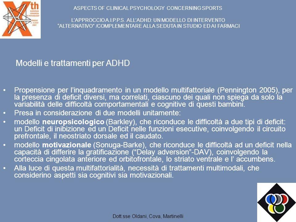 Modelli e trattamenti per ADHD Propensione per linquadramento in un modello multifattoriale (Pennington 2005), per la presenza di deficit diversi, ma