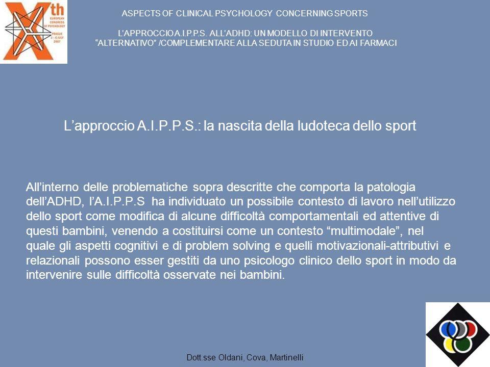 Lapproccio A.I.P.P.S.: la nascita della ludoteca dello sport Allinterno delle problematiche sopra descritte che comporta la patologia dellADHD, lA.I.P