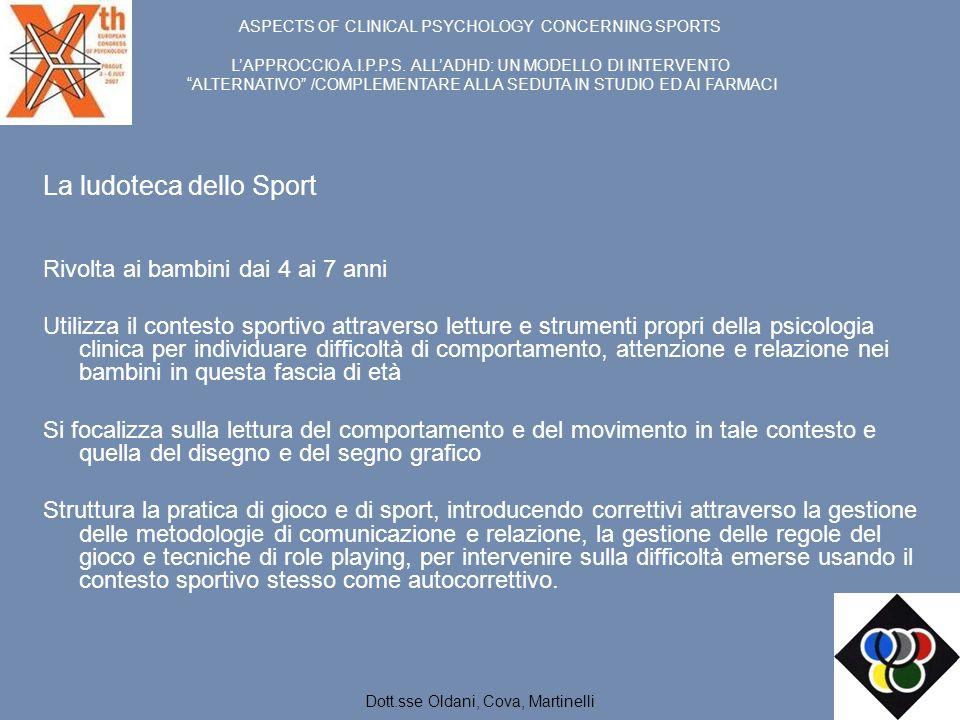 La ludoteca dello Sport Rivolta ai bambini dai 4 ai 7 anni Utilizza il contesto sportivo attraverso letture e strumenti propri della psicologia clinic