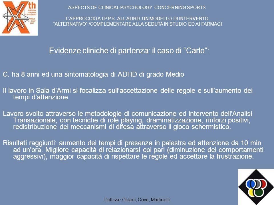 Evidenze cliniche di partenza: il caso di Carlo: C. ha 8 anni ed una sintomatologia di ADHD di grado Medio Il lavoro in Sala dArmi si focalizza sullac