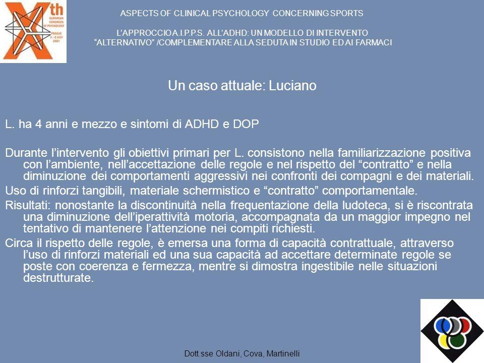 Un caso attuale: Luciano L. ha 4 anni e mezzo e sintomi di ADHD e DOP Durante lintervento gli obiettivi primari per L. consistono nella familiarizzazi