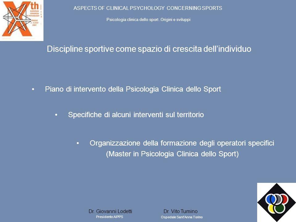 Discipline sportive come spazio di crescita dellindividuo Piano di intervento della Psicologia Clinica dello Sport Specifiche di alcuni interventi sul