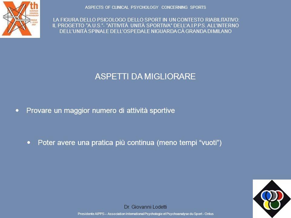 ASPECTS OF CLINICAL PSYCHOLOGY CONCERNING SPORTS LA FIGURA DELLO PSICOLOGO DELLO SPORT IN UN CONTESTO RIABILITATIVO: IL PROGETTO A.U.S.- ATTIVITÀ UNIT