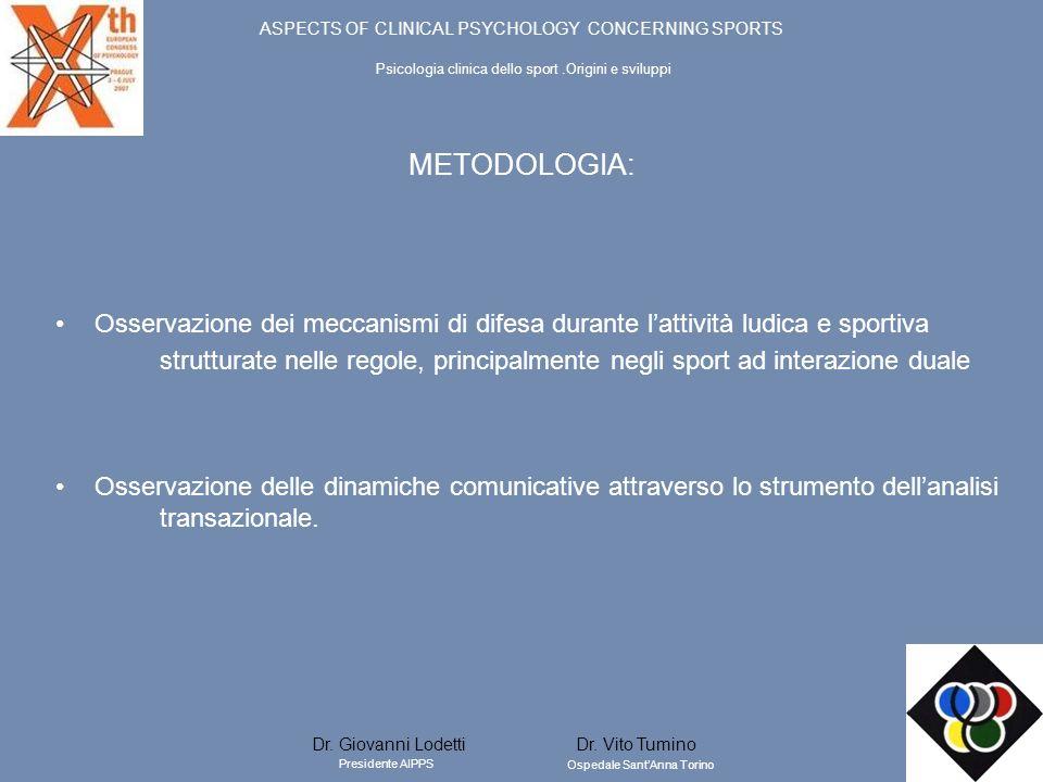 METODOLOGIA: Osservazione dei meccanismi di difesa durante lattività ludica e sportiva strutturate nelle regole, principalmente negli sport ad interaz