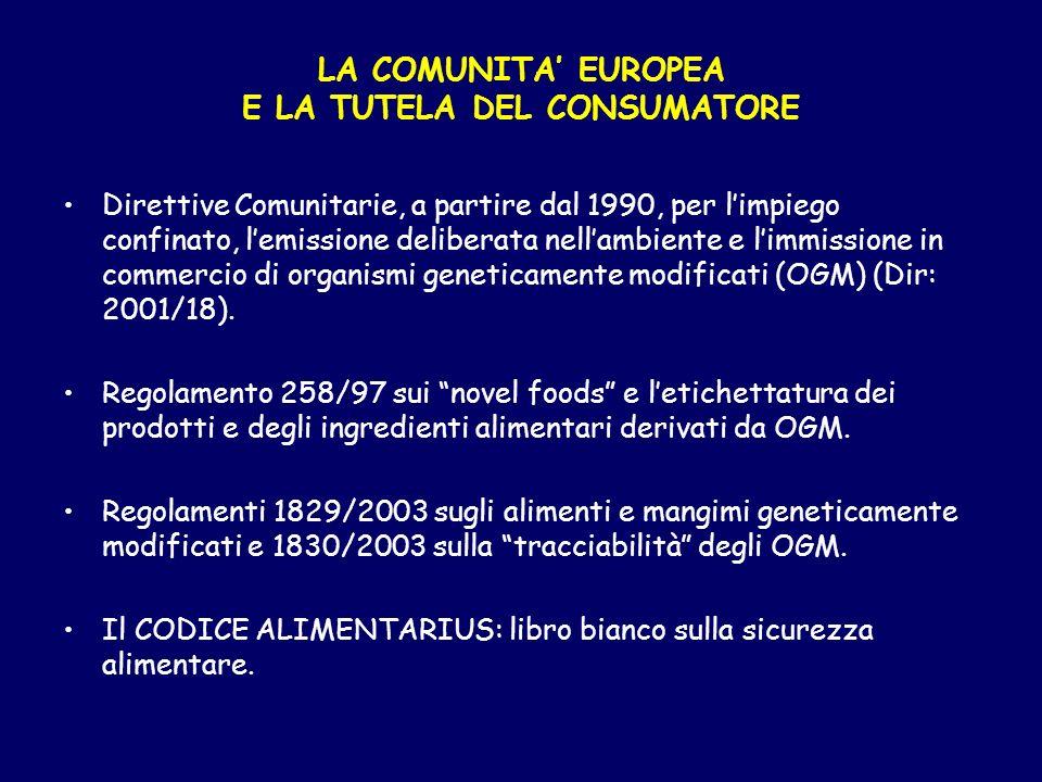 Direttive Comunitarie, a partire dal 1990, per limpiego confinato, lemissione deliberata nellambiente e limmissione in commercio di organismi genetica