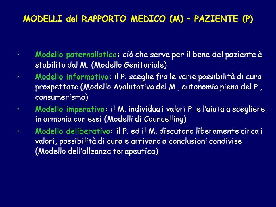 MODELLI del RAPPORTO MEDICO (M) – PAZIENTE (P) Modello paternalistico: ciò che serve per il bene del paziente è stabilito dal M. (Modello Genitoriale)