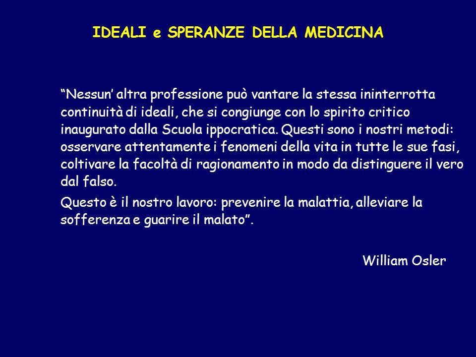 IDEALI e SPERANZE DELLA MEDICINA Nessun altra professione può vantare la stessa ininterrotta continuità di ideali, che si congiunge con lo spirito cri