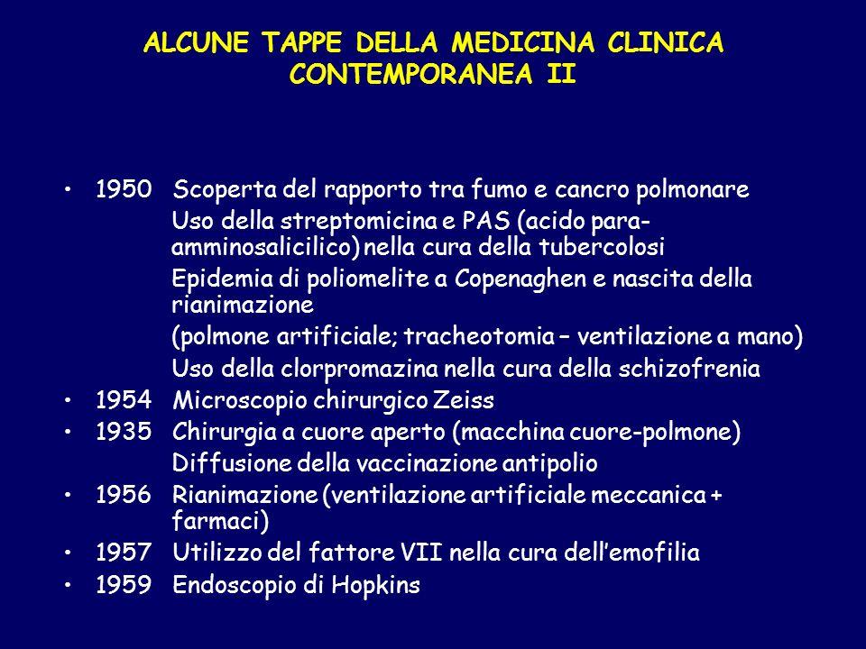 ALCUNE TAPPE DELLA MEDICINA CLINICA CONTEMPORANEA II 1950 Scoperta del rapporto tra fumo e cancro polmonare Uso della streptomicina e PAS (acido para-