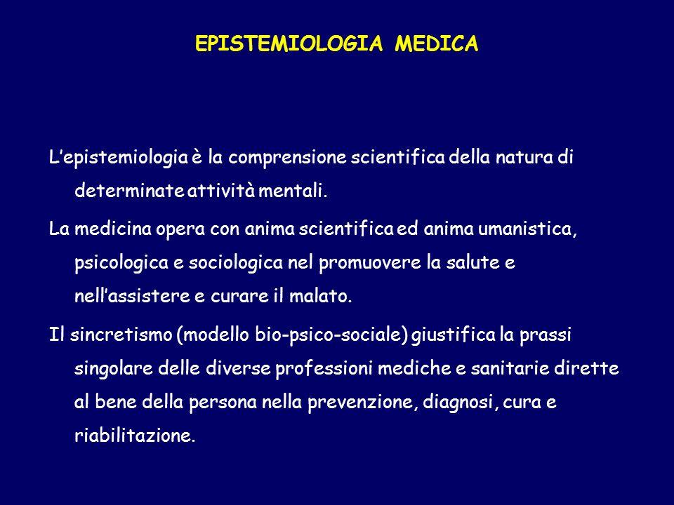 EPISTEMIOLOGIA MEDICA Lepistemiologia è la comprensione scientifica della natura di determinate attività mentali. La medicina opera con anima scientif