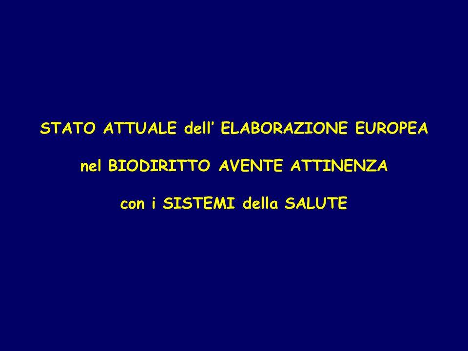 STATO ATTUALE dell ELABORAZIONE EUROPEA nel BIODIRITTO AVENTE ATTINENZA con i SISTEMI della SALUTE