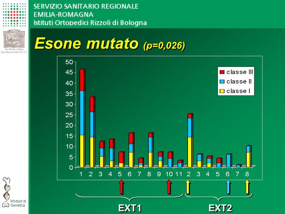 Modulo di Genetica EXT1 EXT2 Esone mutato (p=0,026)