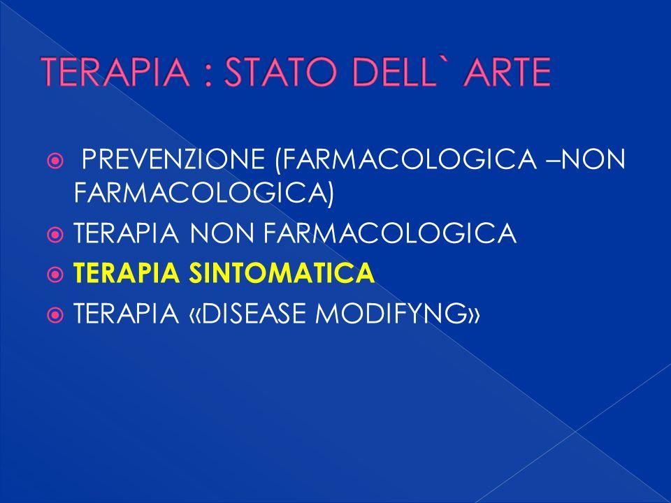 PREVENZIONE (FARMACOLOGICA –NON FARMACOLOGICA) TERAPIA NON FARMACOLOGICA TERAPIA SINTOMATICA TERAPIA «DISEASE MODIFYNG»