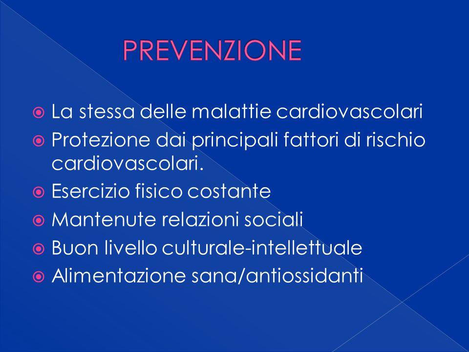 La stessa delle malattie cardiovascolari Protezione dai principali fattori di rischio cardiovascolari.
